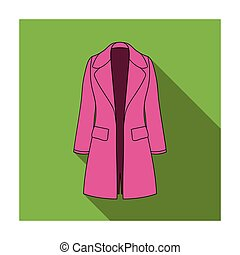 Blue female restrained coat buttoned. Women s outerwear..Women clothing single icon in flat style vector symbol stock illustration.