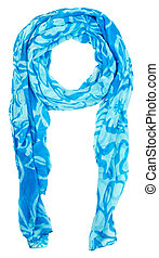Blue female scarf isolated on white