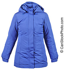 blue female winter jacket with hood isolated on white
