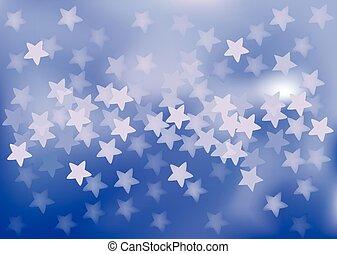 Blue festive lights in star shape, vector background. - ...
