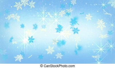 blue festive snowflakes and stars. Computer generated seamless loop background.