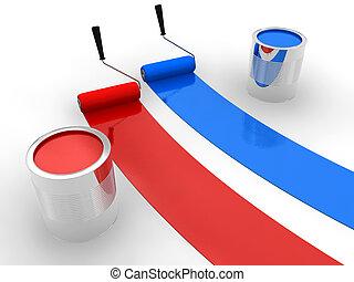 blue festmény, piros