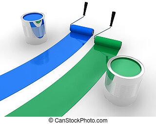 blue festmény, zöld