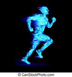 Blue fiery running man