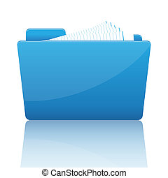 Blue file folder with paper
