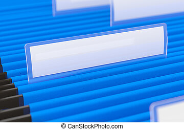 Blue File Folders - Blue hanging folder with blank tag on it