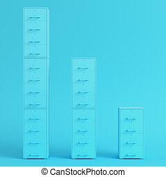 Blue filing cabinets on bright blue background in pastel colors