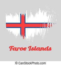 blue-fimbriated, field., color, cepillo, islas faroe, bandera, nórdico, blanco, estilo, cruz roja