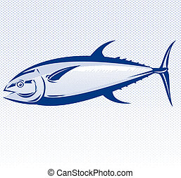 Blue fin tuna - Illustration of a blue fin tuna side view ...