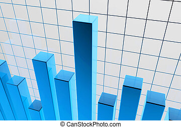 blue financial stat background graphic - 3d rendered illustration