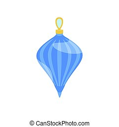 Blue fir tree toy icon, flat style