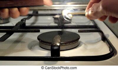 fire burning gas burner household