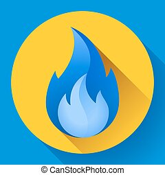 Blue fire flame icon vector illustration