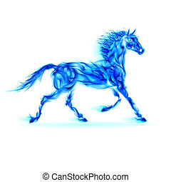 Blue fire horse. - Blue fire horse in motion on white...