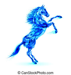 Blue fire horse rearing up. Illustration on white...