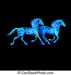 Blue fire horses. - Running blue fiery horses. Illustration...