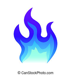 Blue fire icon Flat fire flame vector illustration. blue flame or campfire isolated on white