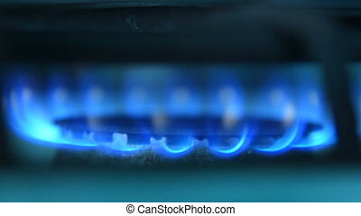 Blue fire of gas stove