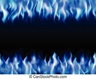 Blue Fire Tileable Borders - Blue fire tileable realistic...