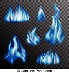 Blue Fire Transparent Set - Realistic burning blue fire...