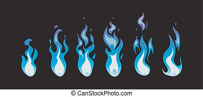 Blue fire vector animation sprites, flames