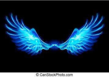 Blue fire wings. - Illustration of blue fire wings on balck...