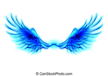 Blue fire wings - Illustration of blue fire wings on white...