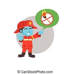 blue firefighter warning illustration design