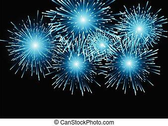 blue fireworks background 1411