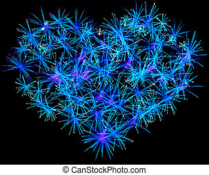 Blue Fireworks heart shape for Valentines Day