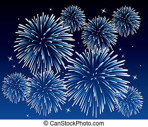 blue fireworks - vector blue fireworks background