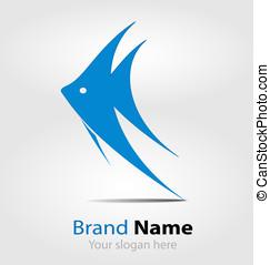 Blue fish brand logo/logotype - Originally designed blue...