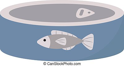 Blue fish can, illustration, vector on white background.