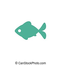 blue fish flat icon isolated on white. Vector illustration.