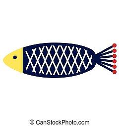 blue fish flat illustration on white