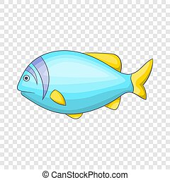 Blue fish icon, cartoon style