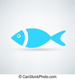 blue fish icon on white background