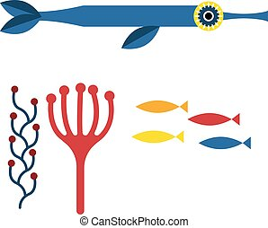 Blue fish illustration on white background