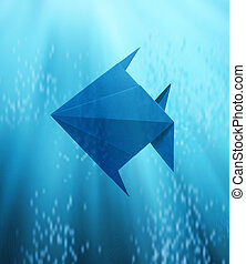 fish in Origami floating in deep blue sea