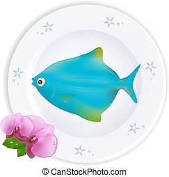 Blue Fish On Plate