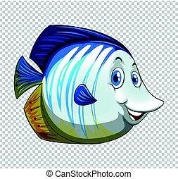 Blue fish on transparent background