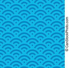 Blue fish scale background of concentric circles. Abstract seamless pattern looks like sea waves. Vector illustration