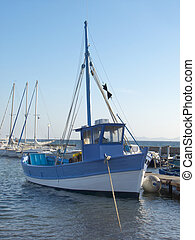Blue Fisher Boat - a Mediterranean blue fisher boat at ...