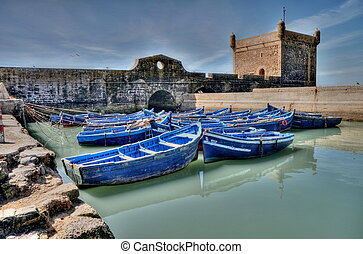 Blue fishing boats of Essaouira
