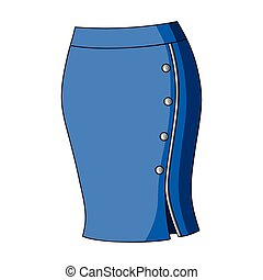 Blue-fitting skirt with slit and buttons. Part strict...