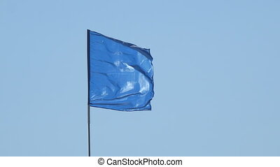 Blue flag on blue sky background - Blue flag on blue clear...