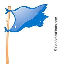 Blue flag on wooden stick