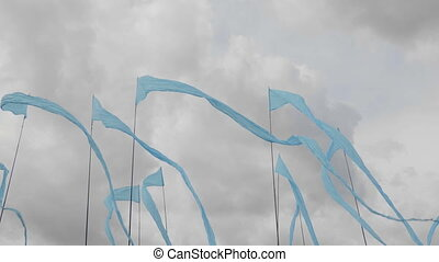 Blue flags fluttering in the wind