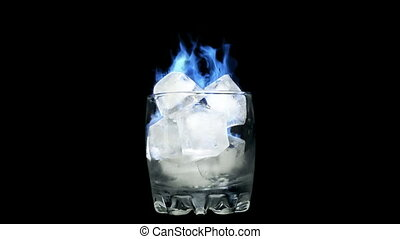 Blue flame - Burning Ice in Glass