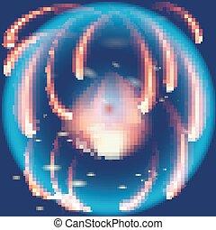 Blue flame firework background